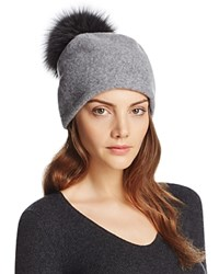 Helene Berman Wool Slouch Beanie With Fox Fur Pom Pom Gray