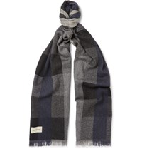 Oliver Spencer Tring Checked Virgin Wool Blend Scarf Gray