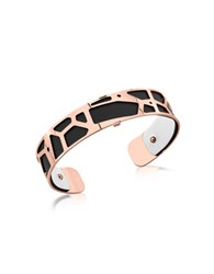 Les Georgettes Small Girafe Rose Gold Plated Bracelet W Black And White Reversible Leather Strap