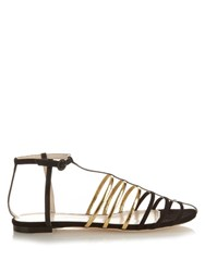Nina Ricci Cut Out Cage Suede Sandals Black Gold