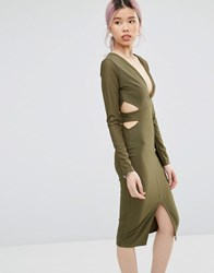 Daisy Street Midi Dress With Cut Outs Khaki Green