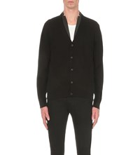 The Kooples Leather Trim Knitted Cardigan Black