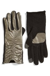 Women's Echo 'Touch' Ruched Leather Gloves Gunmetal