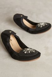 Anthropologie Yosi Samra Orly Jeweled Fold Up Flats Black 6 Flats