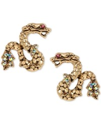 Betsey Johnson Gold Tone Crystal Snake Stud Earrings