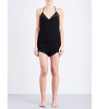 Eberjey Adeline Jersey And Lace Playsuit Black