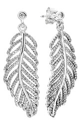 Pandora Design Women's Pandora 'Light As A Feather' Drop Earrings Sterling Silver Clear