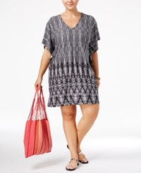 Dotti Plus Size Tie Dyed Festival Printed Flutter Sleeve Tunic Cover Up Women's Swimsuit Black