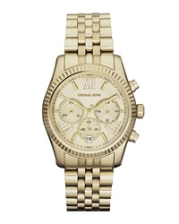 Mid Size Golden Lexington Chronograph Stainless Steel Watch Michael Kors Silver