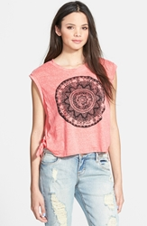 Living Doll Medallion Graphic Side Tie Tank Juniors Coral
