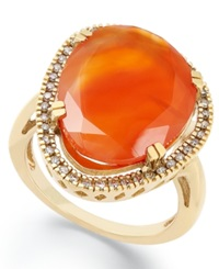 Macy's 14K Gold Over Sterling Silver Ring Carnelian 6 3 4 Ct. T.W. And Diamond 1 6 Ct. T.W. Ring