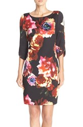 Gabby Skye Women's Floral Print Scuba Shift Dress Black Multi