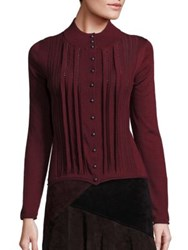 Nanette Lepore Oolong Tea Merino Wool Embellished Cardigan Wine