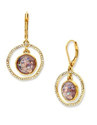 Lonna And Lilly Abalone Glass Studded Orbital Drop Earrings Burgundy