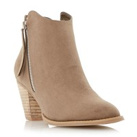Head Over Heels Patel Zip Detail Round Toe Ankle Boots Taupe