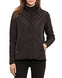 Ralph Lauren Faux Leather Neck Tab Quilted Jacket Black