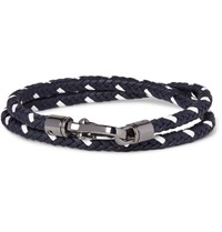 Tod's Two Tone Woven Leather Wrap Bracelet Midnight Blue