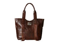 American West Mohave Canyon Large Zip Top Tote Chestnut Brown Tote Handbags