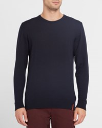 Knowledge Cotton Apparel Navy Merino Wool Ribbed Round Neck Sweater Blue