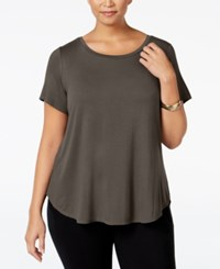 Alfani Plus Size High Low T Shirt Urban Olive