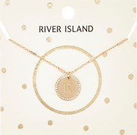 River Island Womens Gold Tone K Initial Necklace