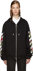Off White Black Embroidered Roses Hoodie