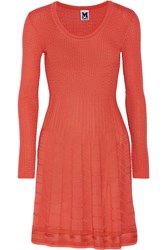M Missoni Wool Blend Stretch Knit Mini Dress Orange