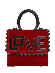 Les Petits Joueurs Micro Alex Love Velvet And Leather Bag