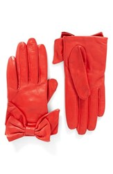 Kate Spade Women's New York Dorothy Bow Leather Gloves Persimmon Grove