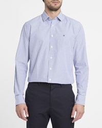 Hackett White And Blue Shadow Chest Logo Striped Slim Fit Shirt