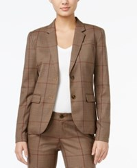 Tommy Hilfiger Classic Glen Plaid Blazer Only At Macy's Tobacco Brown