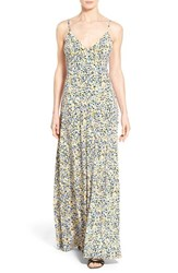 Women's Michael Michael Kors 'Chiltington' Print Jersey Maxi Dress Sunflower Crew Blue