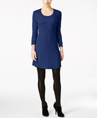 Ny Collection Petite Cable Knit Sweater Dress Alpha Blue