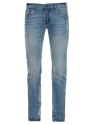 Dolce And Gabbana Distressed Slim Leg Denim Jeans Indigo