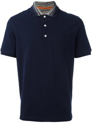 Missoni 'Space Dye Collar' Polo Shirt Blue