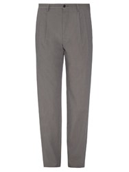 Giorgio Armani Pleated Front Micro Stripe Trousers Beige