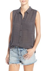 Women's Bp. Sleeveless Woven Blouse Grey Magnet