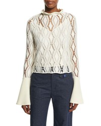 See By Chloe Bell Sleeve Crochet Top Winter White
