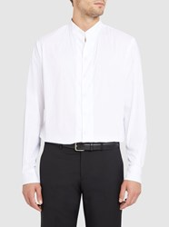 Armani Collezioni White Cotton Stretch Poplin Mandarin Collar Slim Fit Shirt
