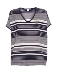 Diane Von Furstenberg Honey Striped Top Navy White