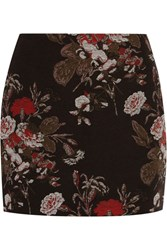 Ganni Cotton Blend Floral Brocade Mini Skirt Black