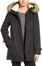 Larry Levine Women's Faux Shearling And Faux Fur Trim Water Repellent Parka With Detachable Hood