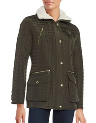 Michael Kors Sherpa Trimmed Quilted Coat Olive