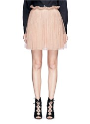 Alexander Mcqueen Metallised Floral Lace Flare Skirt Pink
