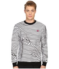 Mcq By Alexander Mcqueen Clean Crew Neck Broken Stripe White Men's Long Sleeve Pullover