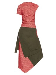 A.W.A.K.E. Contrast Panel Ruched Side Dress Red