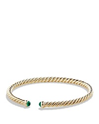 David Yurman Precious Cable Pave Cablespira Bracelet With Emeralds In Gold Gold Green