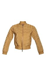 Dsquared2 Cropped Silk Cotton Jacket Gold