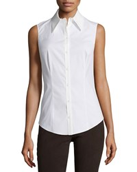 Michael Kors Collection Sleeveless Button Front Top White Women's Size 10