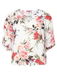 Dorothy Perkins Billie And Blossom Petite Printed Bubble Hem Top White